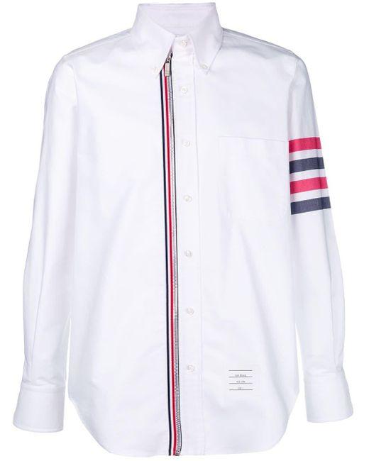 Thom Browne Oxford-Hemd mit Reißverschluss in White für Herren