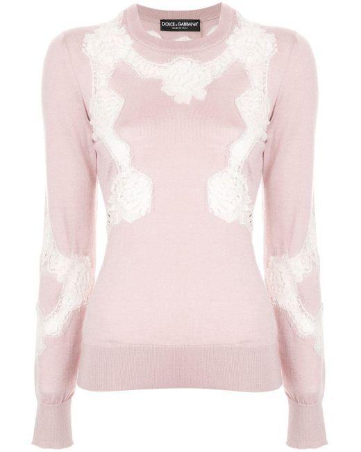 Свитер Chantilly С Кружевом Dolce & Gabbana, цвет: Pink