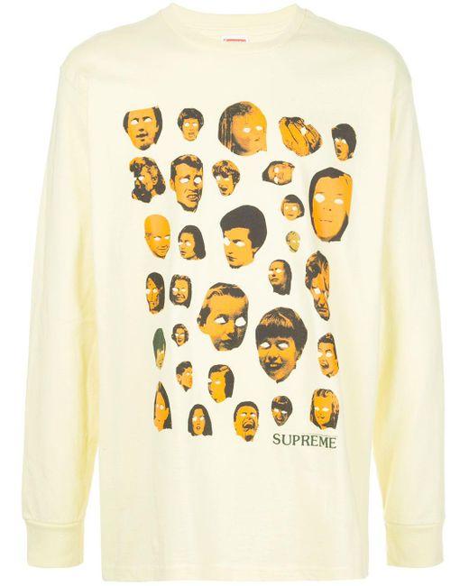メンズ Supreme Faces ロングtシャツ Yellow