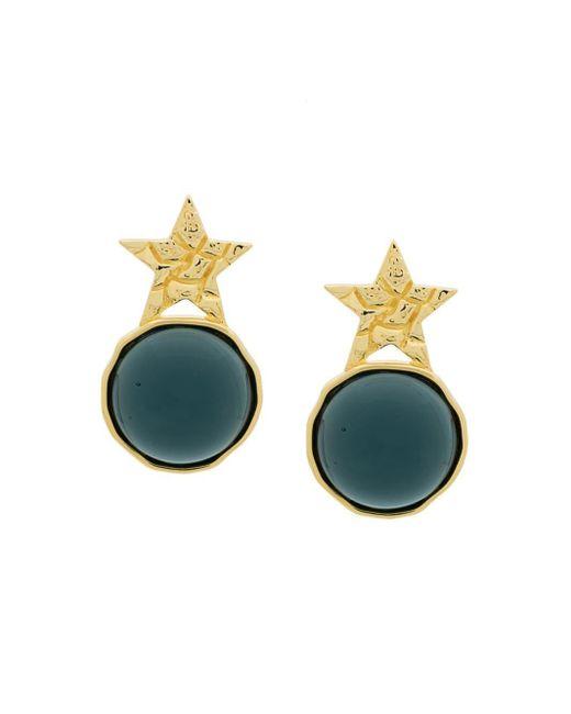 Star Green Glass Studs Eshvi, цвет: Metallic