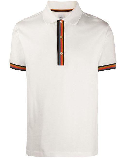 メンズ Paul Smith ストライプトリム ポロシャツ White