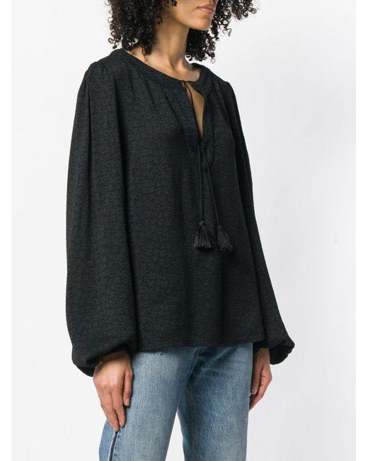 Blouse à col lacé Saint Laurent en coloris Black