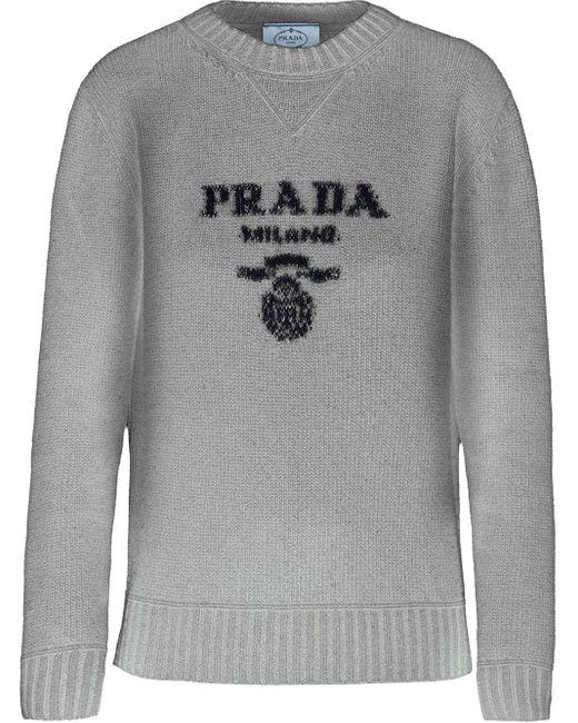 Prada インターシャ ロゴ セーター Gray