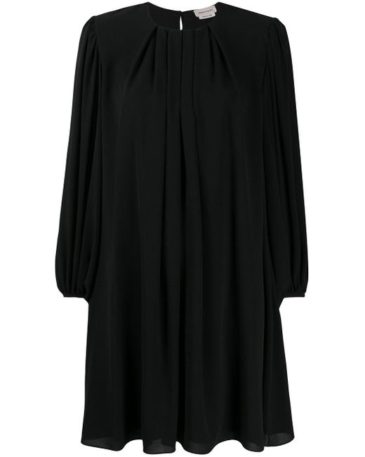 Плиссированное Платье-трапеция Alexander McQueen, цвет: Black