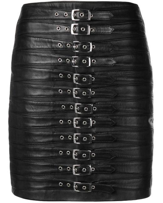 Manokhi Black Schmaler Rock mit Schnalle