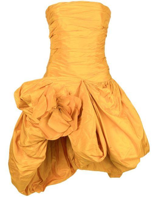 Oscar de la Renta ギャザー ドレス Yellow
