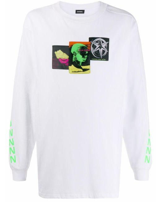 メンズ DIESEL Meltdownnn ロングtシャツ White
