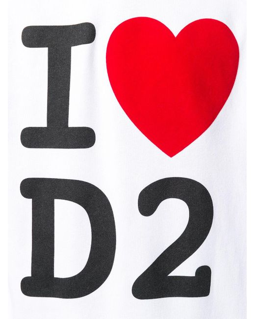メンズ DSquared² I Love D2 パーカー White