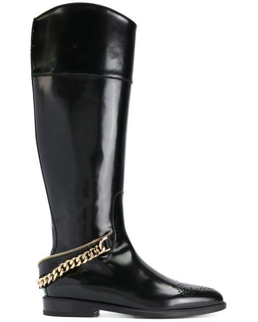 Lanvin Black Chain-embellished Boots