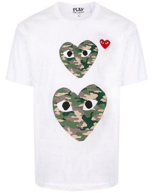 メンズ COMME DES GARÇONS PLAY ハートプリント Tシャツ White