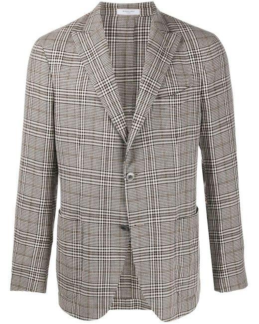 メンズ Boglioli チェック シングルジャケット Gray