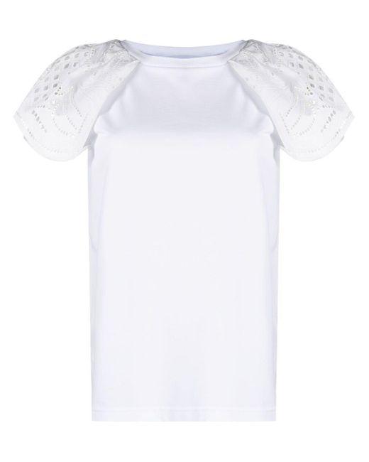 Alberta Ferretti White T-Shirt mit Spitze