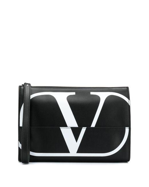 メンズ Valentino Garavani Vロゴ クラッチバッグ Black