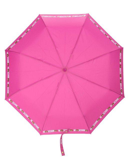 Moschino レオパードプリント 傘 Pink