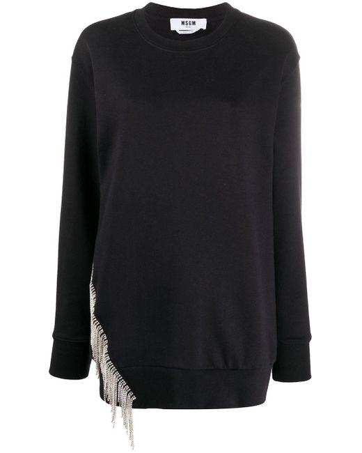 Толстовка С Бахромой И Кристаллами MSGM, цвет: Black