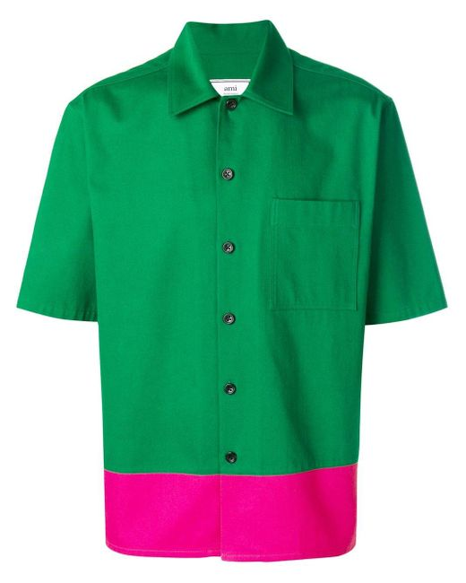 AMI Green Stripe Detail Shirt for men
