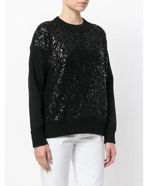 Moncler Black Cracked Patent Effect Sweater