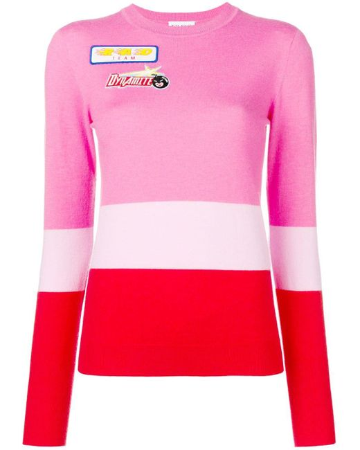 MIRA MIKATI Colour-block Knitted Top Pink