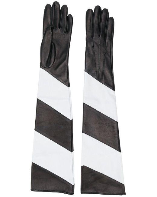 Manokhi ストライプ ロンググローブ Black