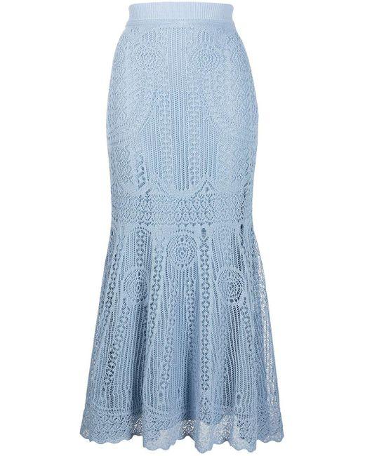 Расклешенная Юбка В Технике Кроше С Завышенной Талией Alexander McQueen, цвет: Blue