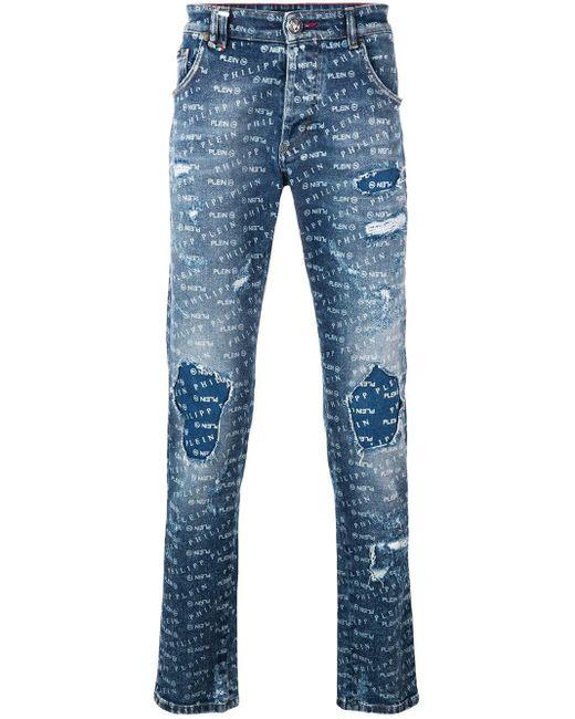 メンズ Philipp Plein ロゴ スキニージーンズ Blue