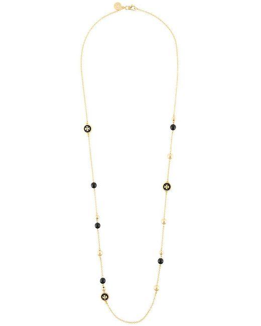 Tory Burch - Metallic Long Logo Necklace - Lyst