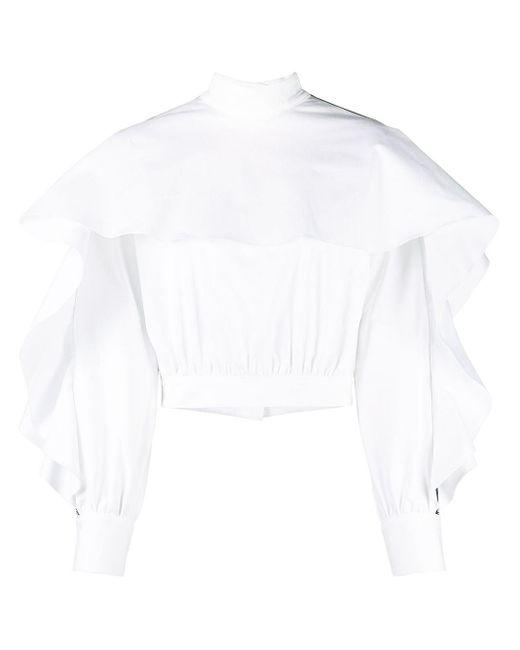 Just Cavalli White Bluse mit Rüschen