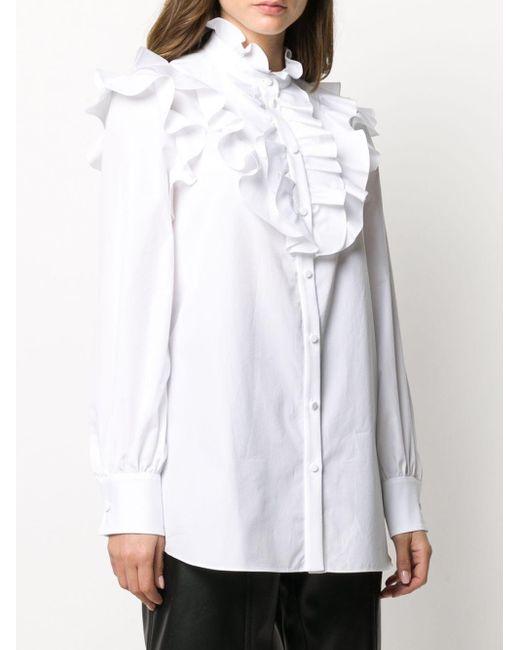 Блузка С Длинными Рукавами И Оборками Alexander McQueen, цвет: White