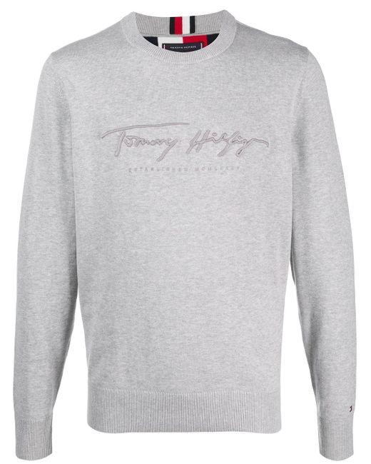 メンズ Tommy Hilfiger ロゴ プルオーバー Gray
