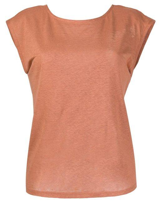 Forte Forte Camiseta con drapeado en la espalda de mujer de color marrón tcGvM