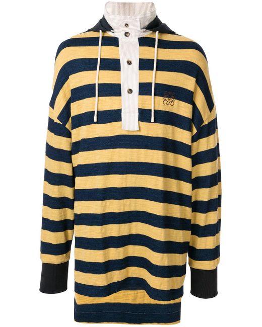 メンズ Loewe ストライプ フーデッドポロシャツ Yellow