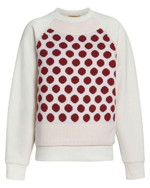 Burberry - White Spot Print Merino Wool And Jersey Sweater - Lyst