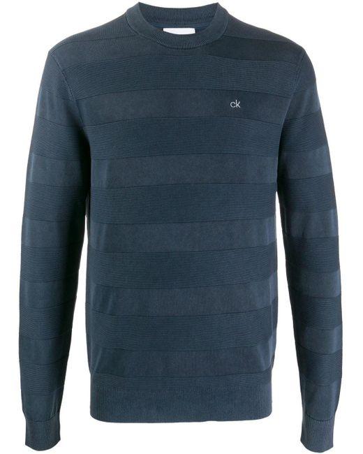 メンズ Calvin Klein ロゴ ストライプ プルオーバー Blue