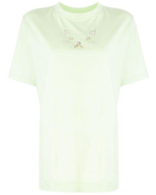 Tu Es Mon Tresor Camiseta con bordado de lentejuelas Cat de mujer de color verde sppNf