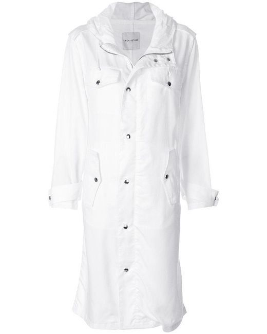 Each x Other - White Text Print Hooded Coat - Lyst