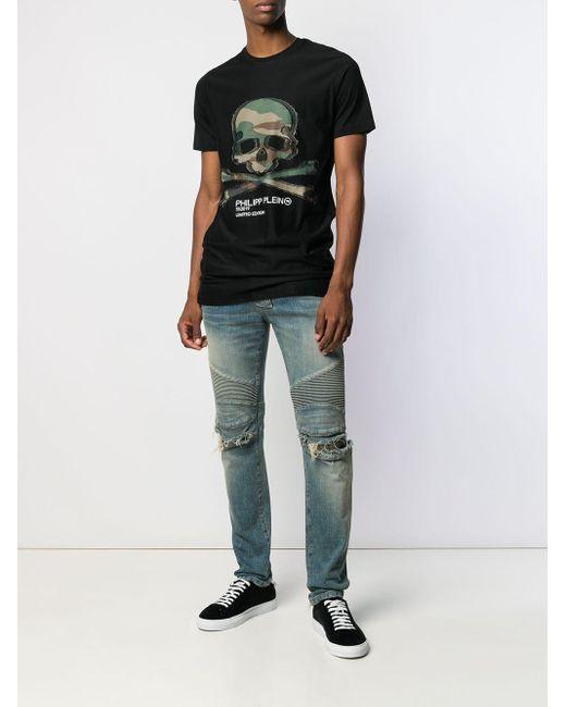 T-shirt con stampa di Philipp Plein in Black da Uomo