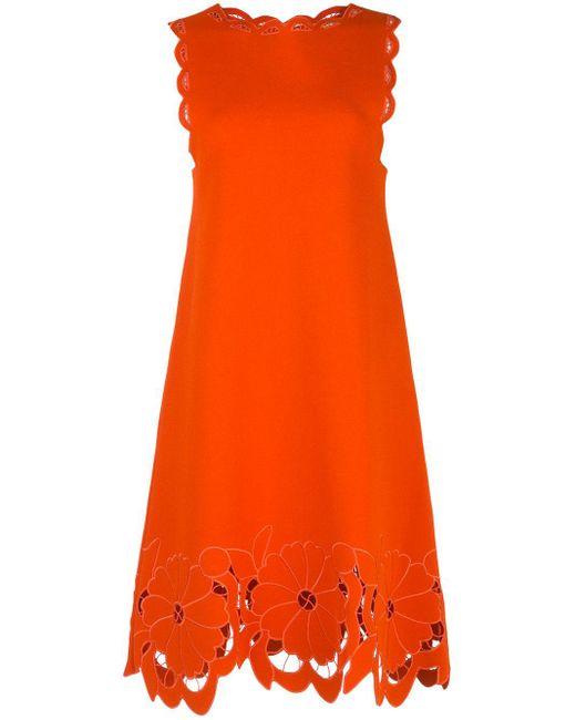 Oscar de la Renta フローラル ニットドレス Orange