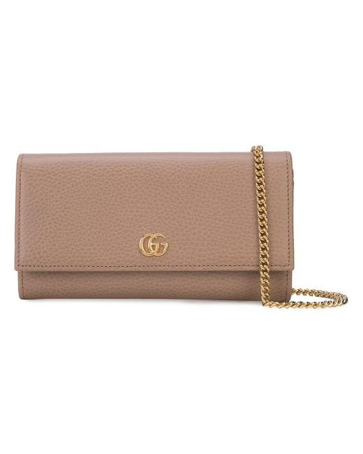 Gucci Brown Marmont Continental Chain Wallet