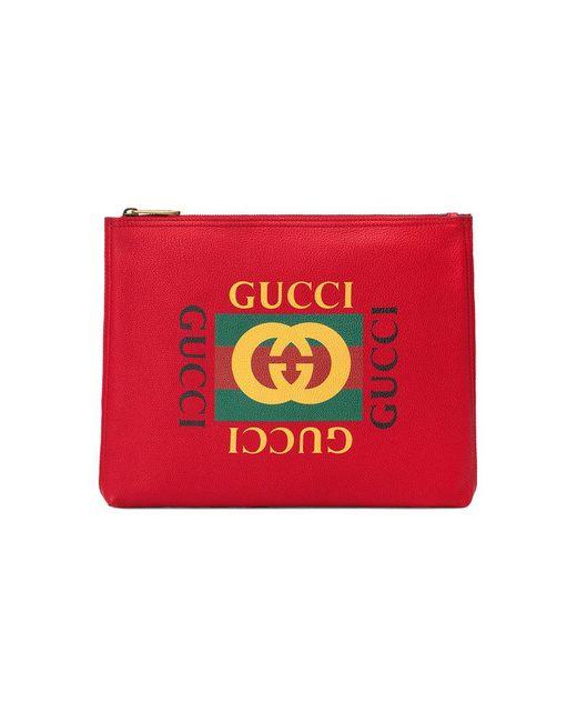 Gucci - Red Print Leather Medium Portfolio for Men - Lyst