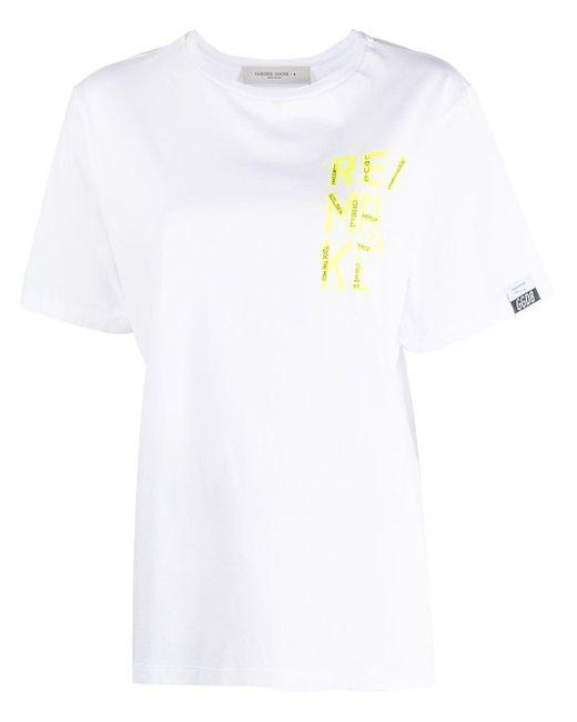 T-shirt à imprimé Remake Golden Goose Deluxe Brand en coloris White