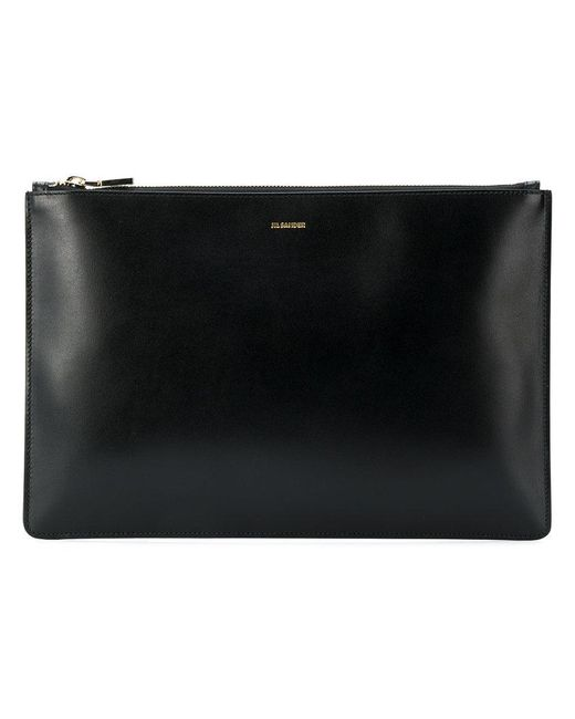 Jil Sander - Black Envelope Leather Clutch - Lyst