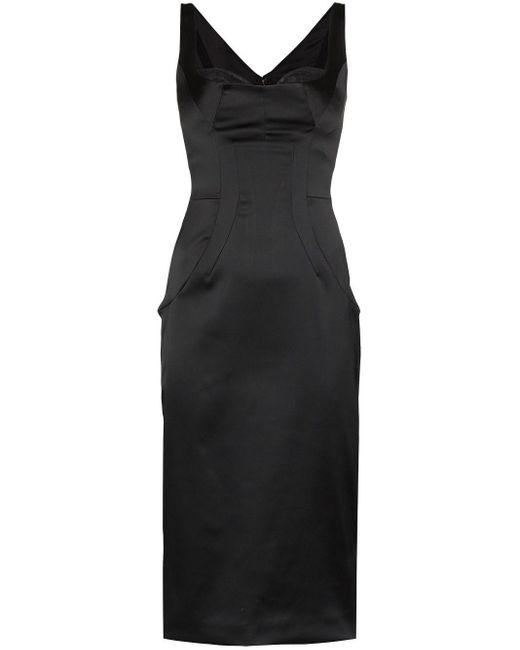 Dolce & Gabbana サテンミディドレス Black