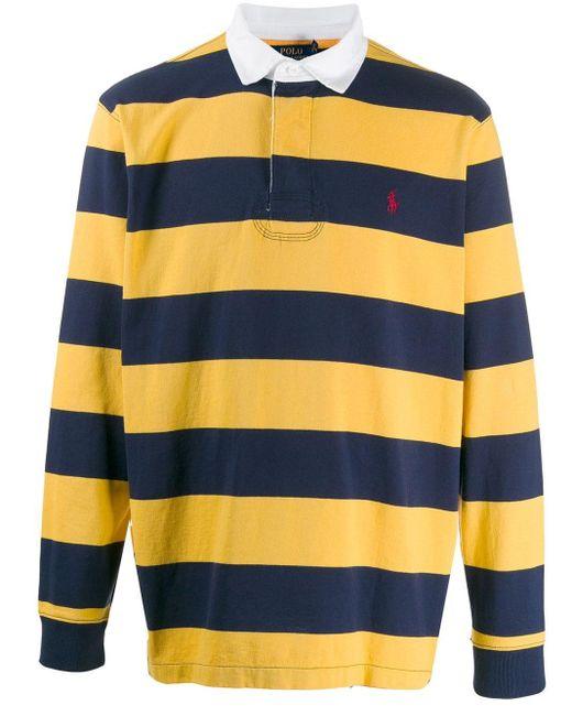 メンズ Ralph Lauren ストライプ ポロシャツ Blue