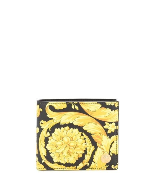 メンズ Versace ブラック And イエロー Barocco メドゥーサ バイフォールド ウォレット Yellow