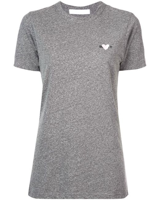 Rodarte - Gray Embroidered Heart T-shirt - Lyst