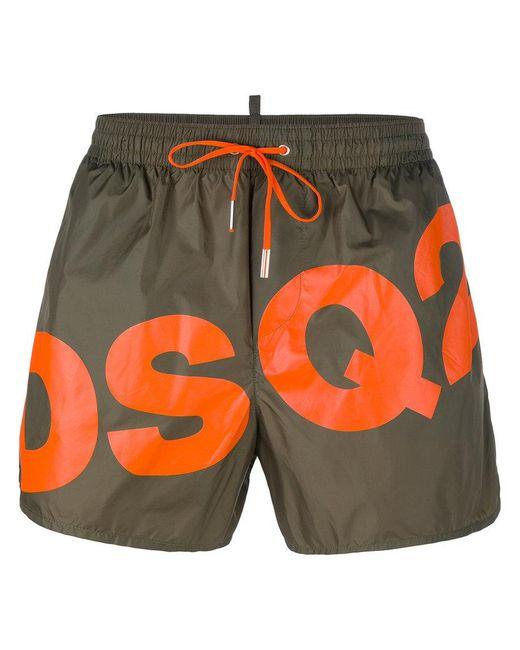 DSquared² | Green Slanted Logo Swim Shorts for Men | Lyst