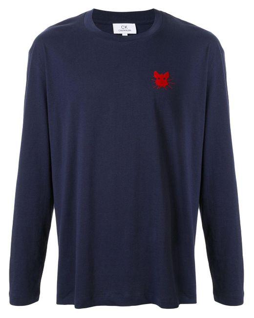 メンズ Calvin Klein プリント ロングtシャツ Blue