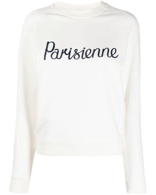 Maison Kitsuné White Parisienne Knit Jumper