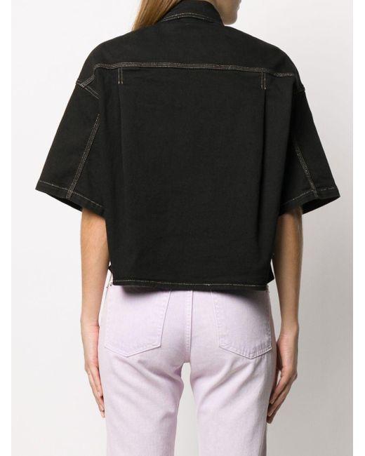 Camicia denim corta di Versace Jeans in Black
