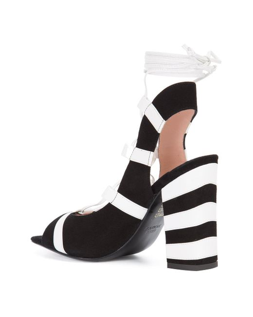 83ce3b6dcf1 ... Boutique Moschino - Black Striped Sandals - Lyst ...